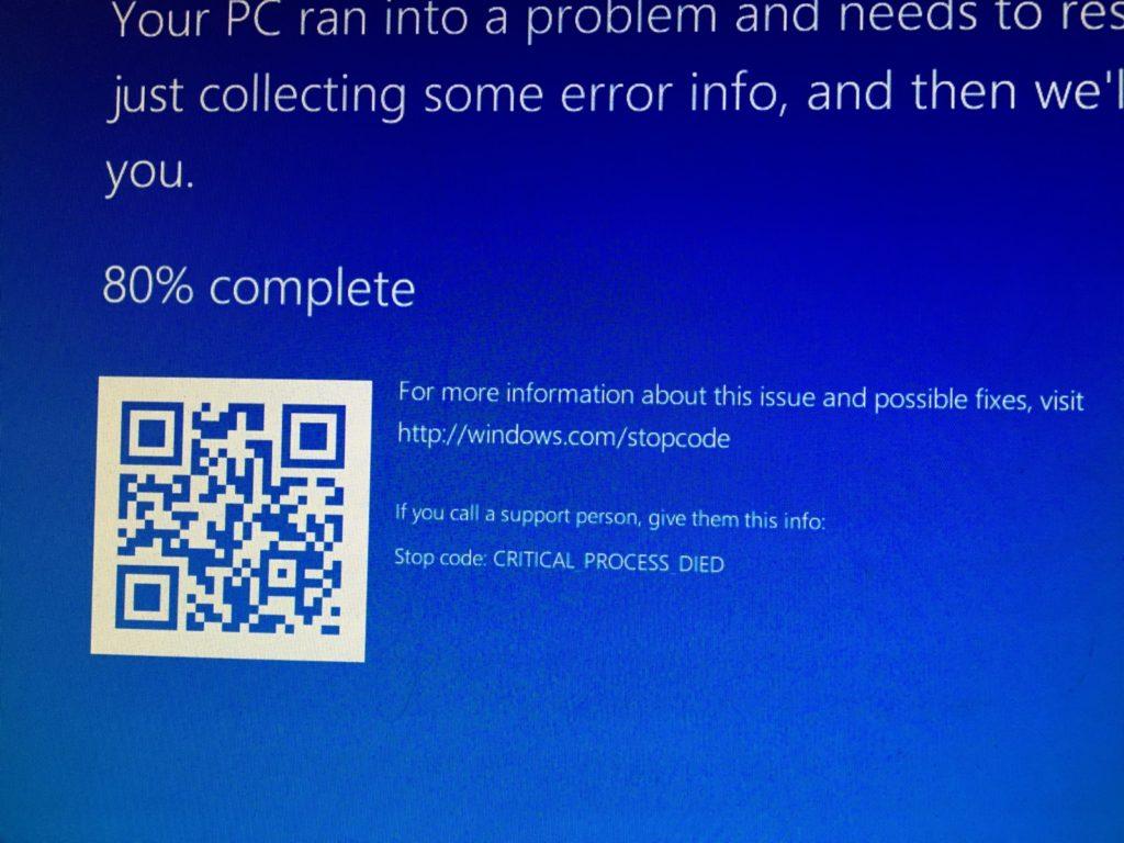 windows 8.1 error code critical_process_died